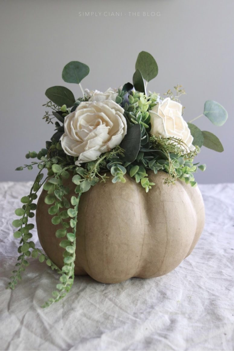 DIY craft pumpkin centerpiece with neutral blooms and greenery  (via www.simplyciani.com)