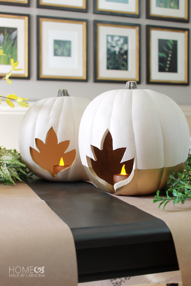 DIY faux pumpkin candle holders with maple leaf cutouts (via www.homemadebycarmona.com)
