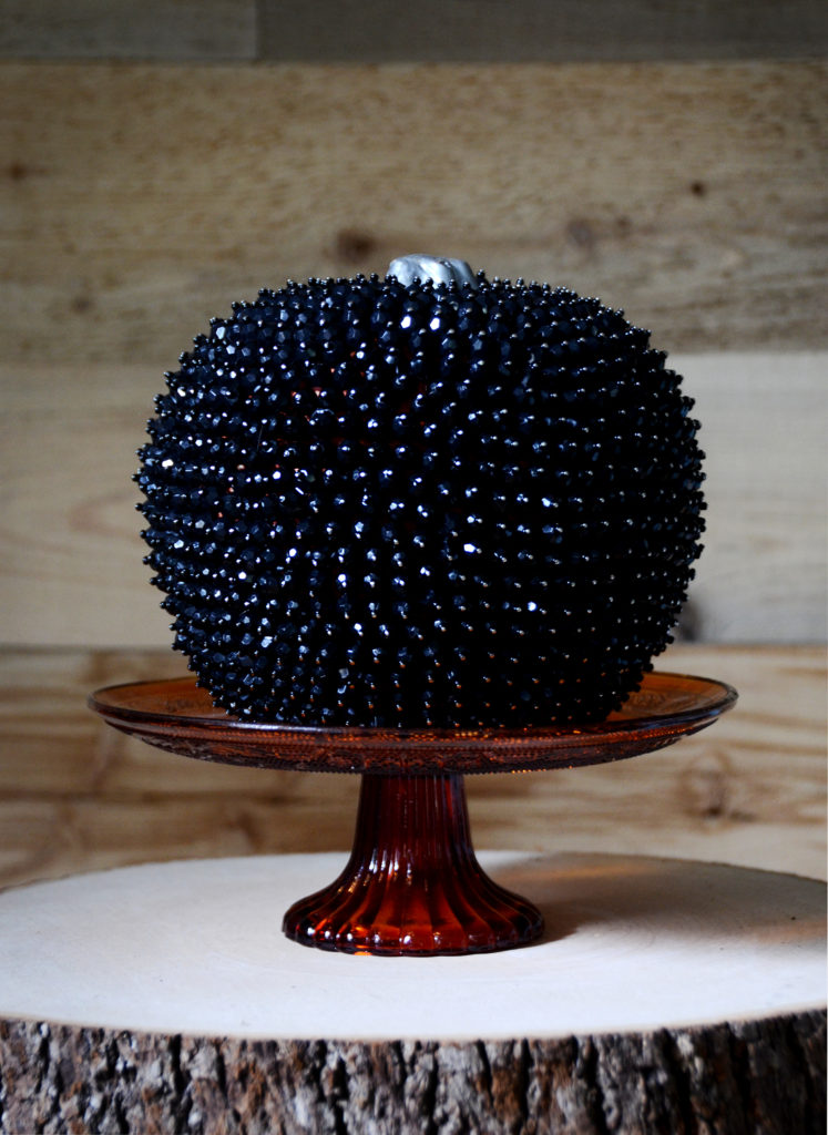 DIY glam black bead pumpkin for Halloween