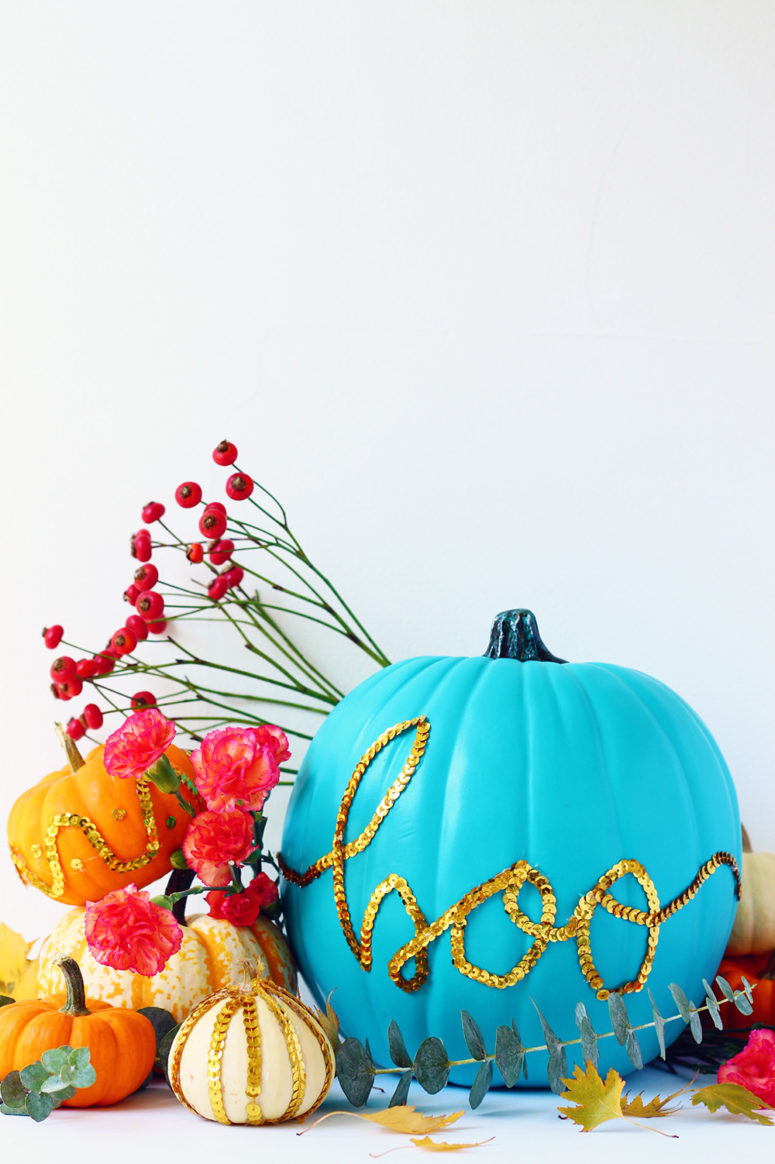 DIY colorful gold sequin trim pumpkins for Halloween (via squirrellyminds.com)