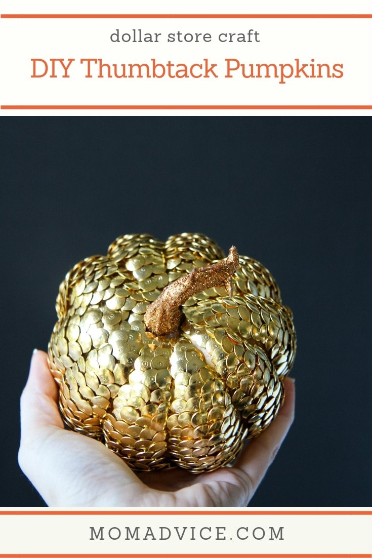 DIY thumbtack covered pumpkins (via momadvice.com)