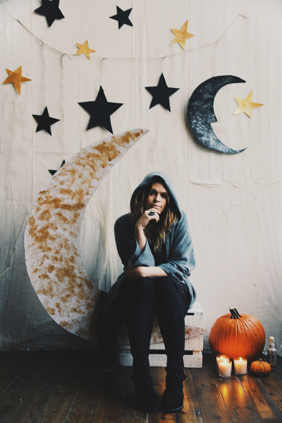 DIY moody celestial backdrop for Halloween