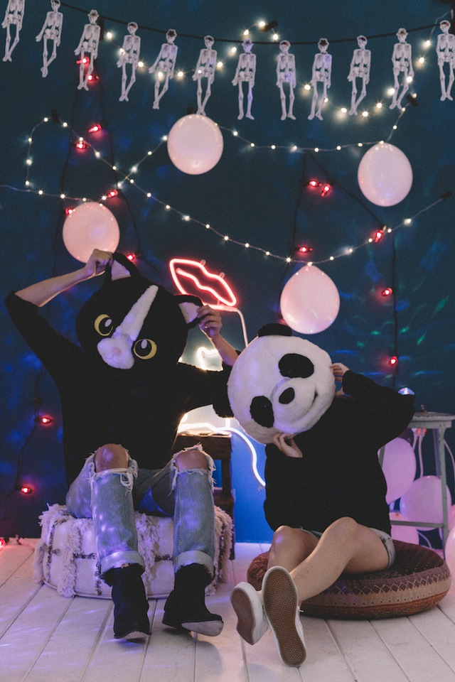 DIY neon and lights Halloween party backdrop (via blog.urbanoutfitters.com)