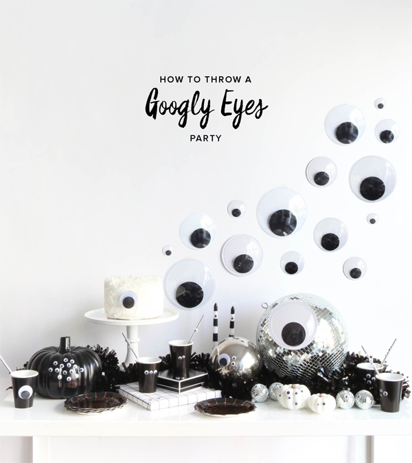 DIY googly eyes Halloween backdrop