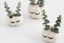 DIY cute faced pumpkins with eucalyptus