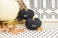 DIY tiny message pumpkins in black
