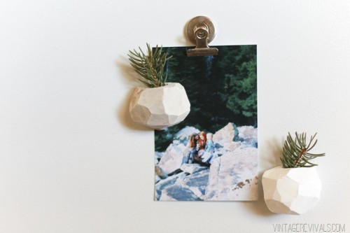 DIY faceted clay planters with magnets (via www.shelterness.com)