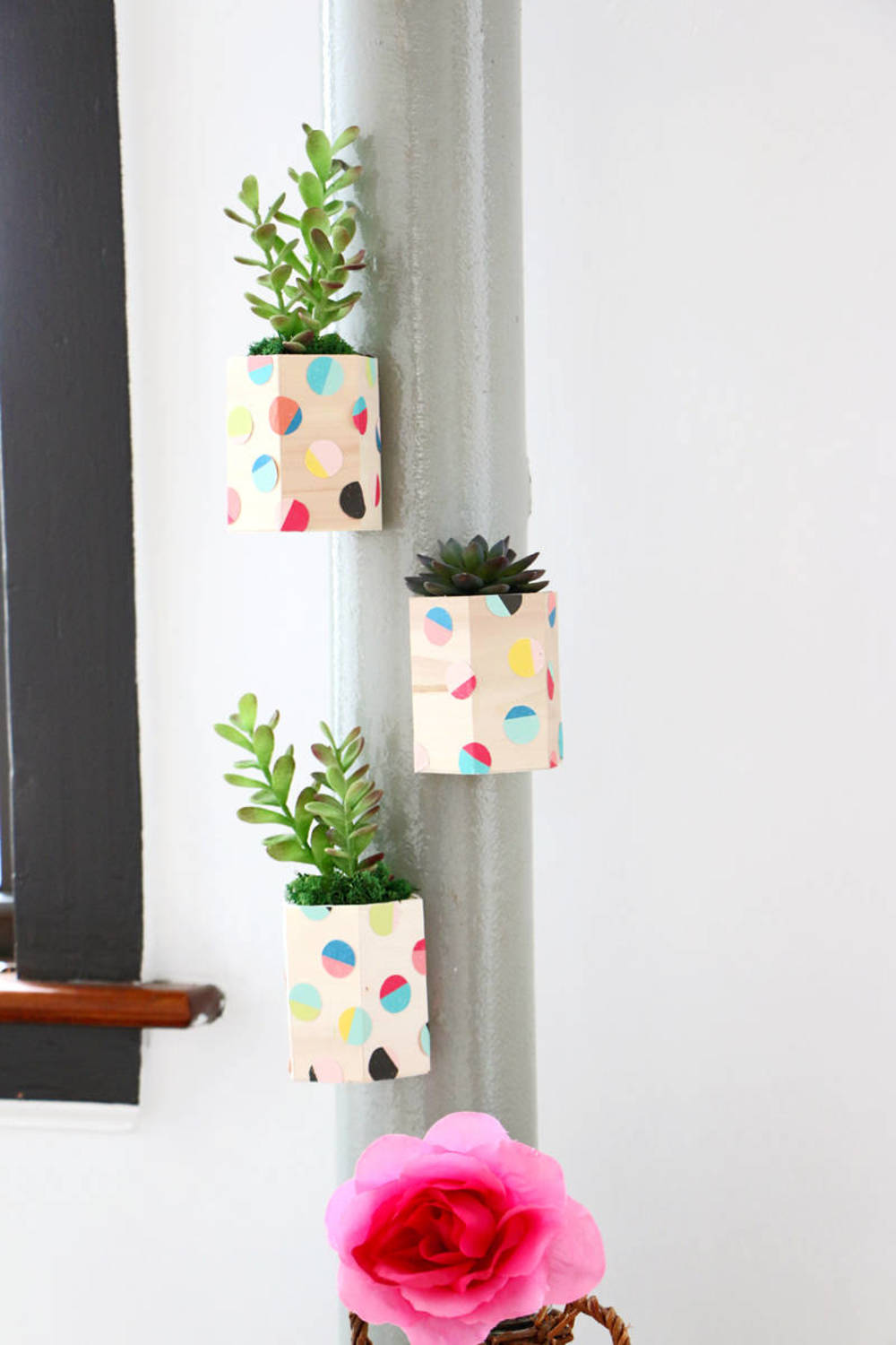 DIY magnetic hexagon planters with colorful paper circles