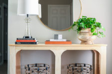 DIY modern one sheet plywood console table