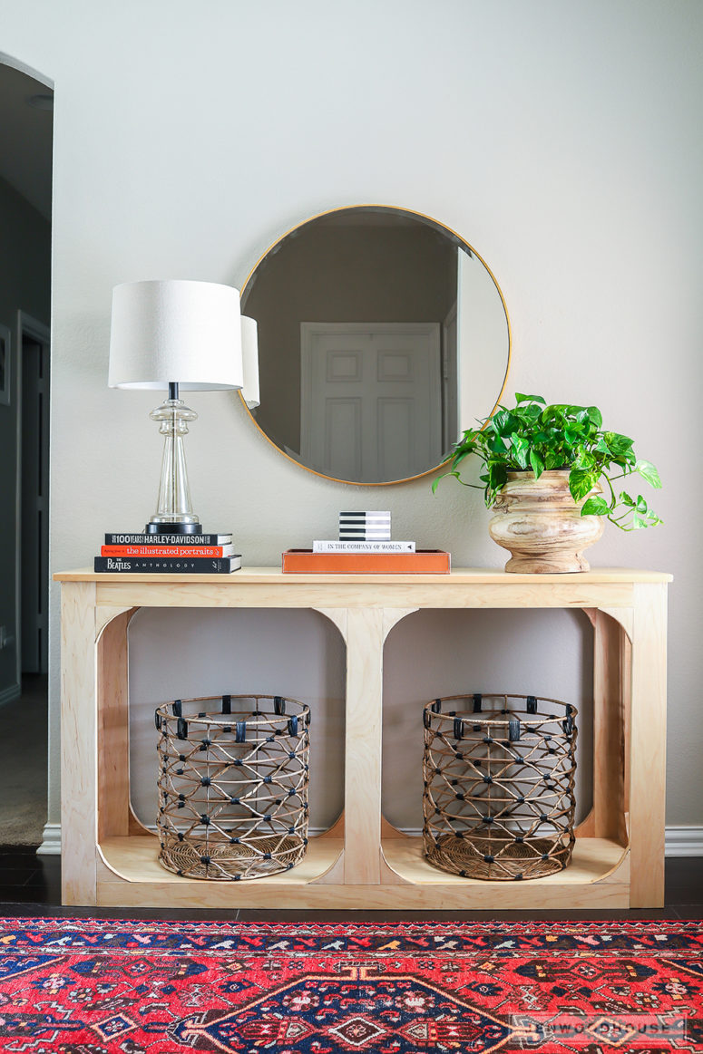 DIY modern one sheet plywood console table (via jenwoodhouse.com)
