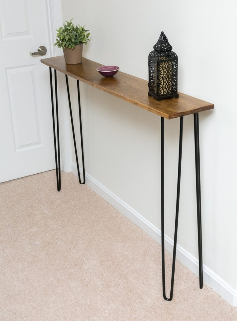 DIY elegant and super thin hairpin leg console (via www.bybrittanygoldwyn.com)