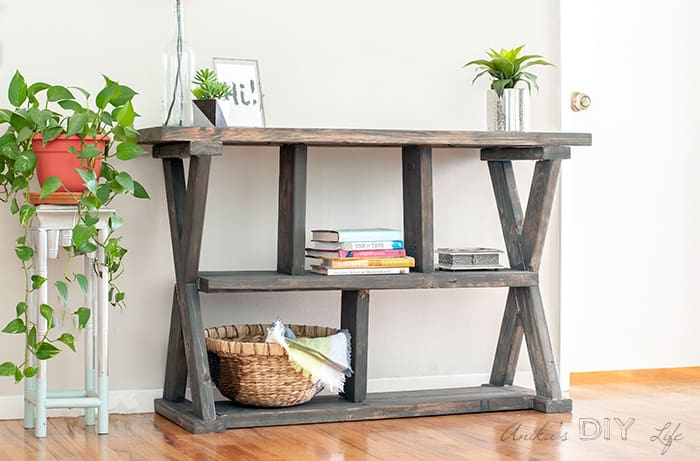 DIY rustic X-leg console table (via www.anikasdiylife.com)