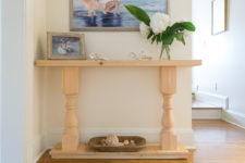 DIY vintage half console table for small spaces