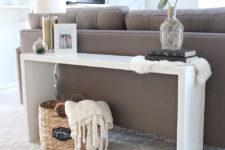 DIY white sleek wooden console