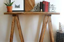 DIY rustic sawhorse console table