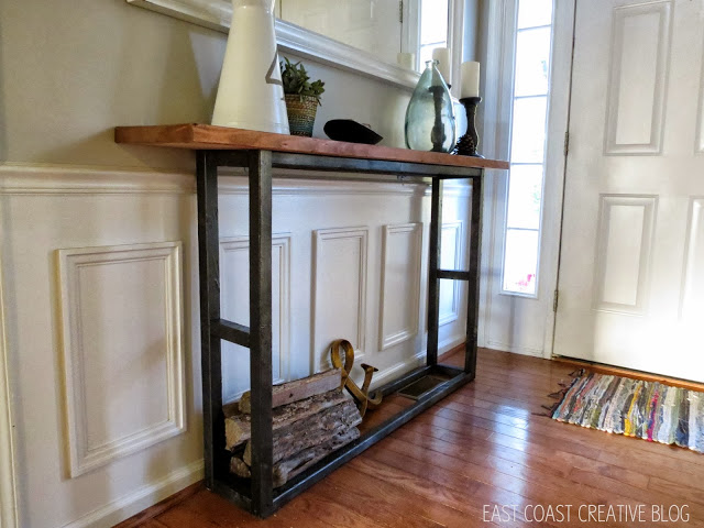 DIY modern wooden console with a black base (via eastcoastcreativeblog.com)