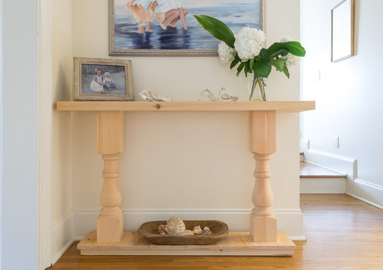 DIY vintage half console table for small spaces (via www.nourishandnestle.com)