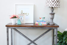DIY X base console table of metal and wood