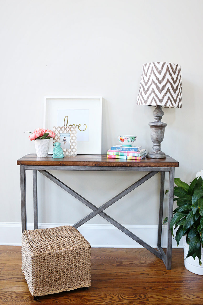 DIY X base console table of metal and wood (via www.bowerpowerblog.com)