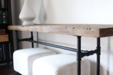 DIY industrial black pipe and wood console table