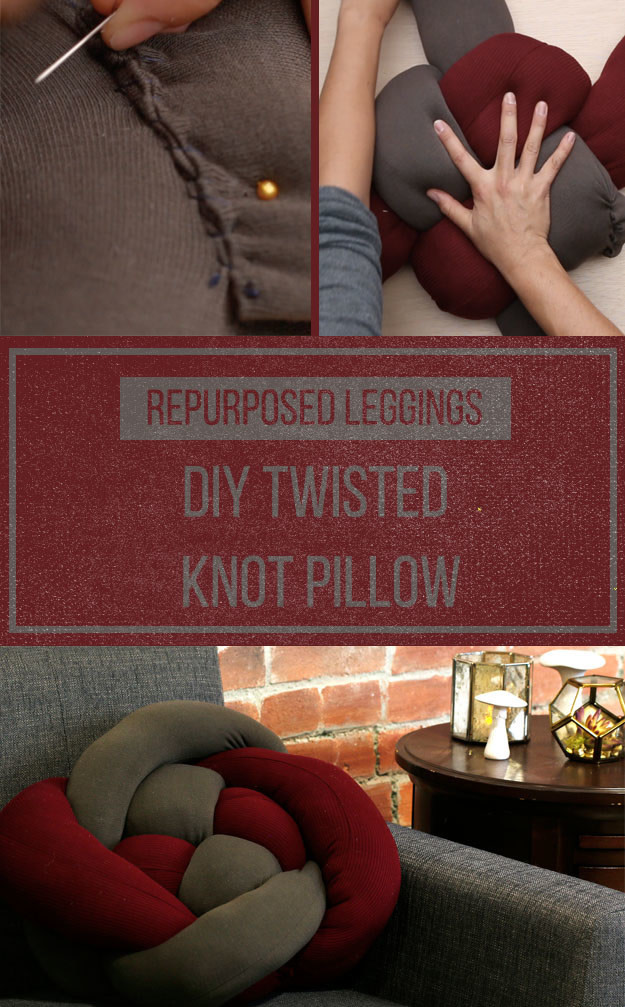DIY knot pillow of colorful old leggings