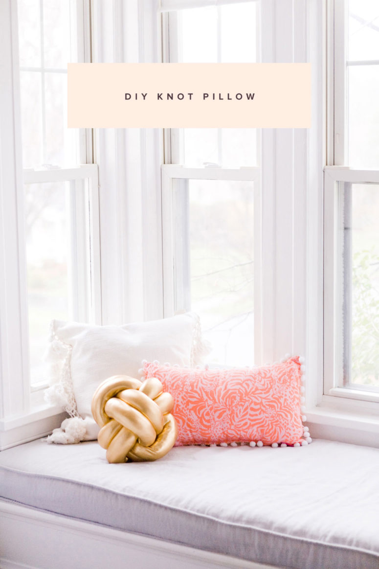 DIY gold spandex knot pillow for an accent (via ruffledblog.com)