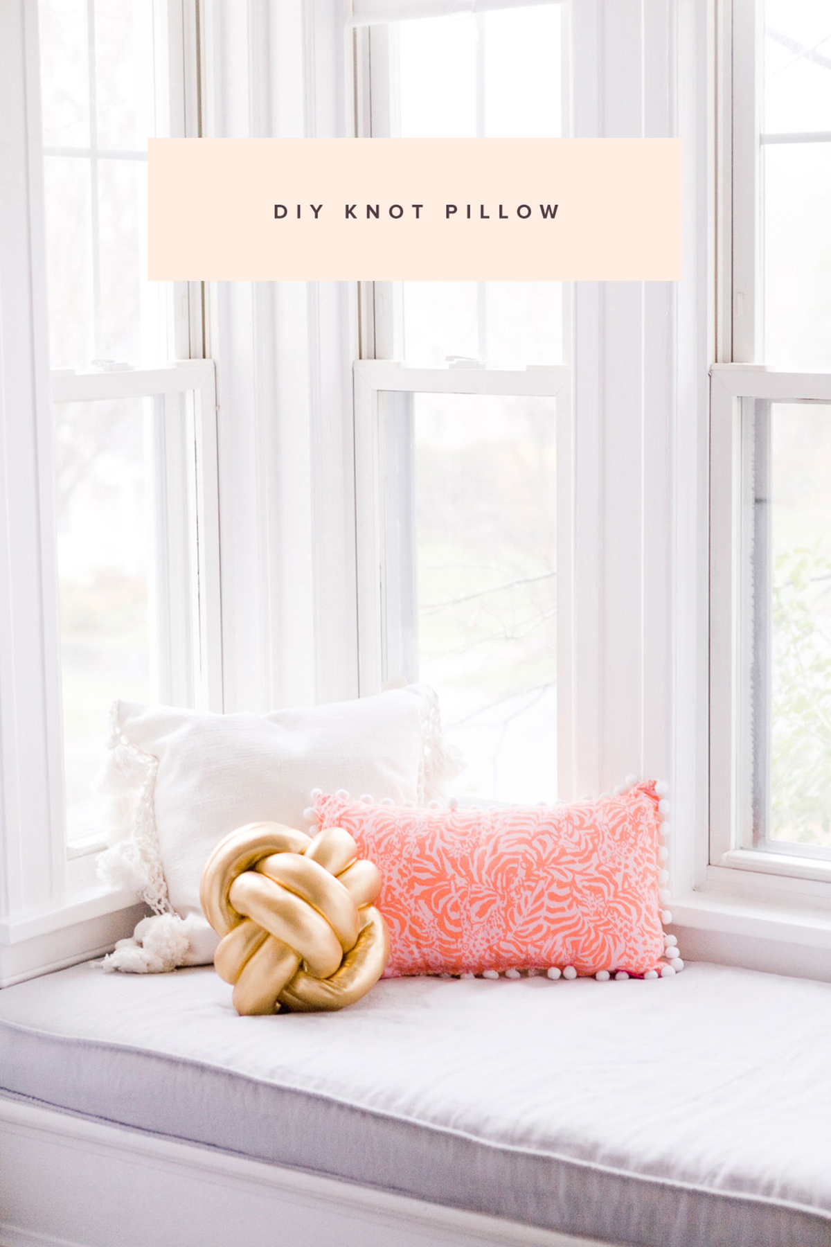 DIY gold spandex knot pillow for an accent