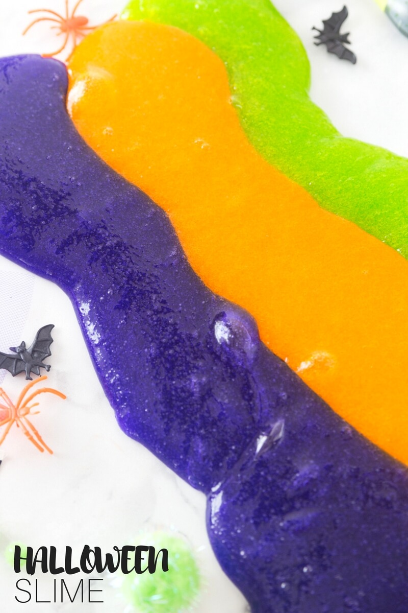 DIY stretchy colorful slime for Halloween