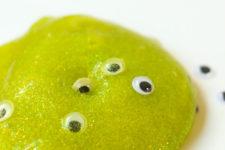 DIY neon green googly eyes Halloween slime