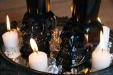 DIY skull votive holders in black for Halloween