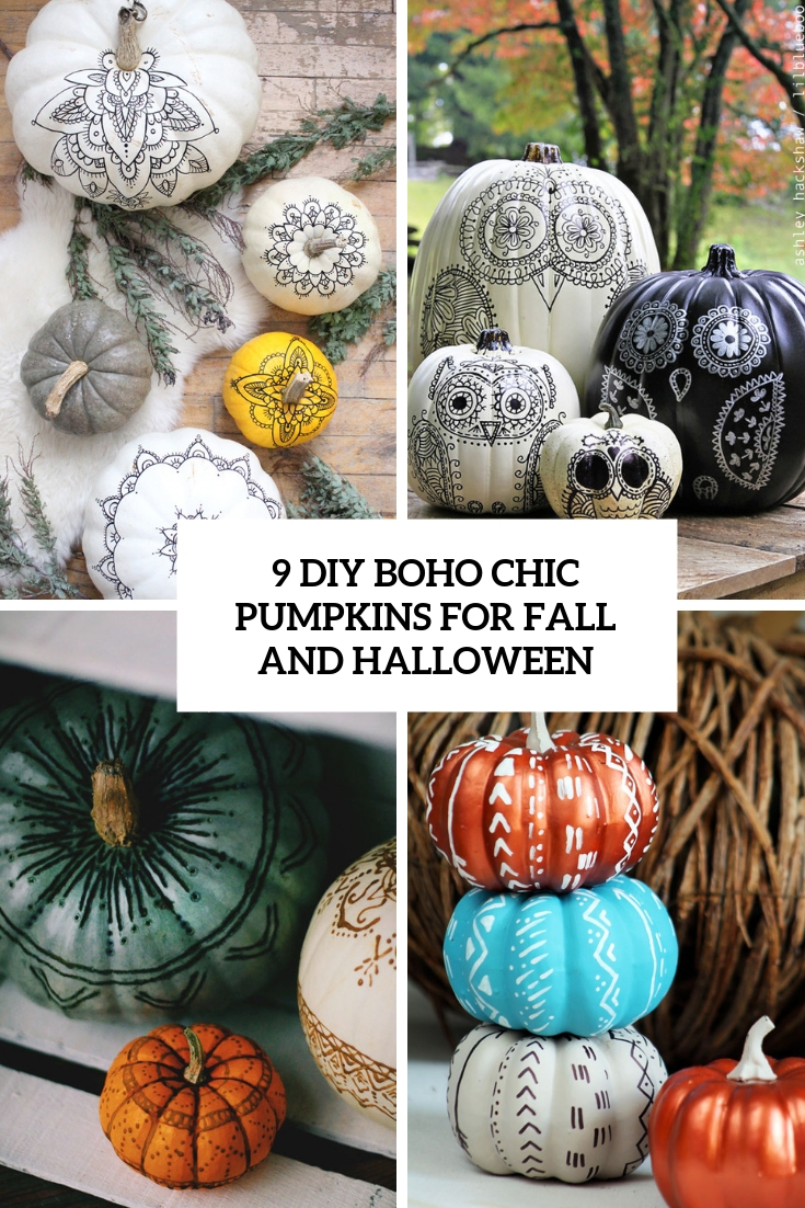 9 boho chic pumpkins for fall and halloween cover