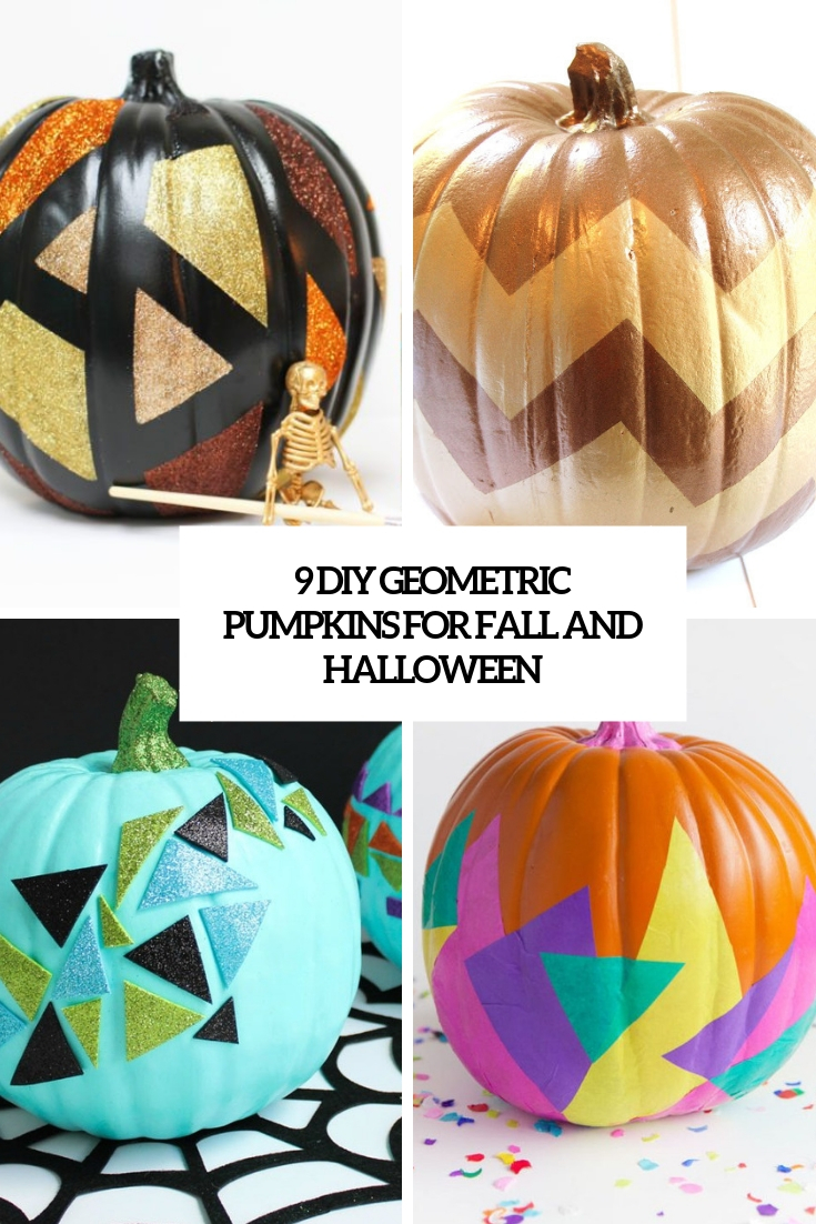 9 diy geometric pumpkins for fall and halloween cover