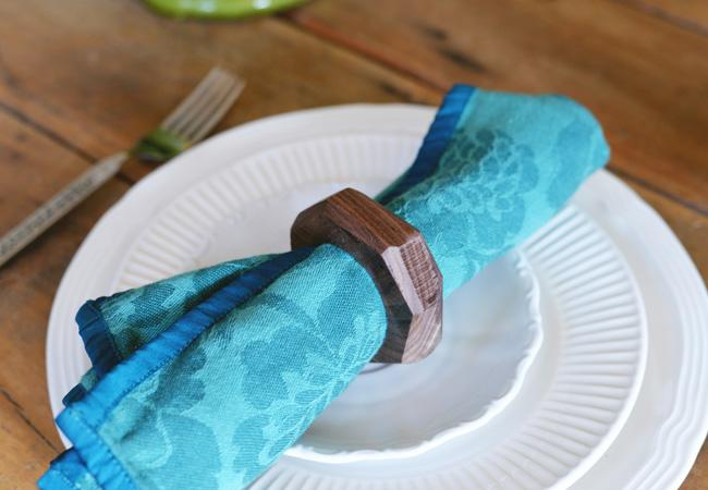 DIY geometric dark stained wooden napkin ring
