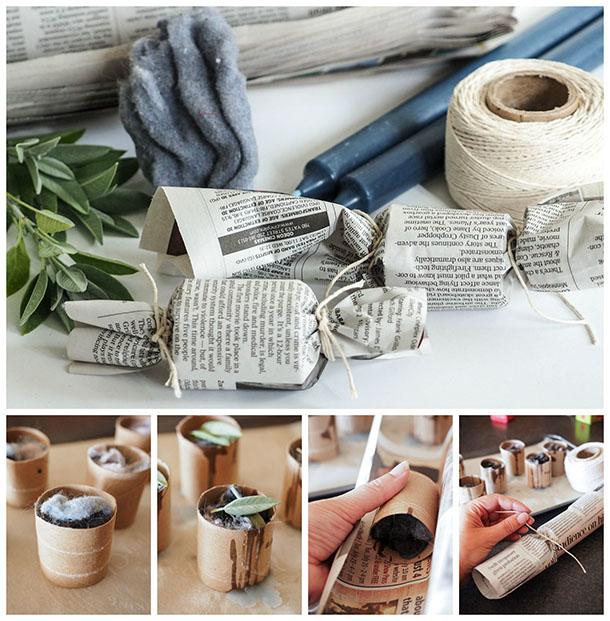 DIY firestarters with herbs, lint, toilet paper rolls  (via dabblesandbabbles.com)