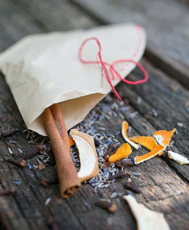 DIY herb firestarter with orange, apple, cinnamon (via helloglow.co)