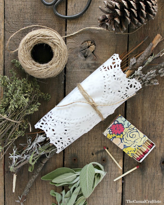 DIY dried herb fire starter with a doily wrap (via www.purelykatie.com)