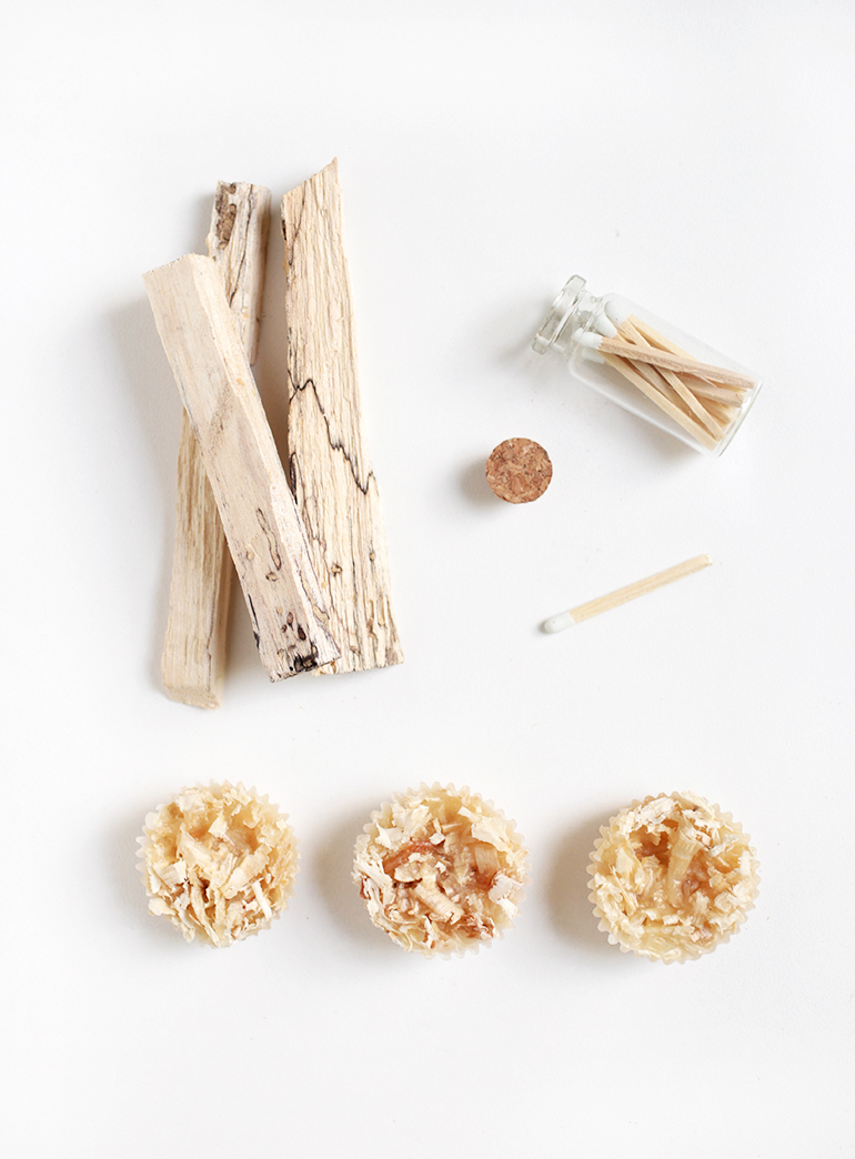 DIY wood shaving firestarters (via themerrythought.com)