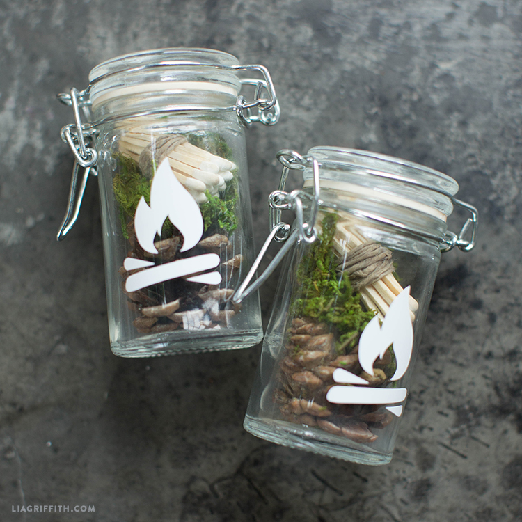DIY stylish firestarter kit with matches, moss and pinecones (via liagriffith.com)
