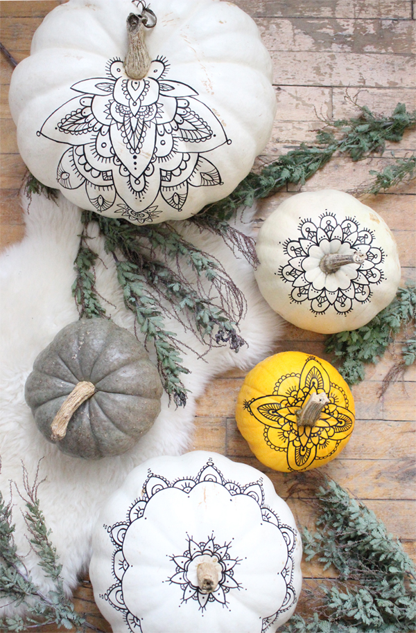 DIY boho Halloween pumpkins with henna decor (via www.babasouk.ca)