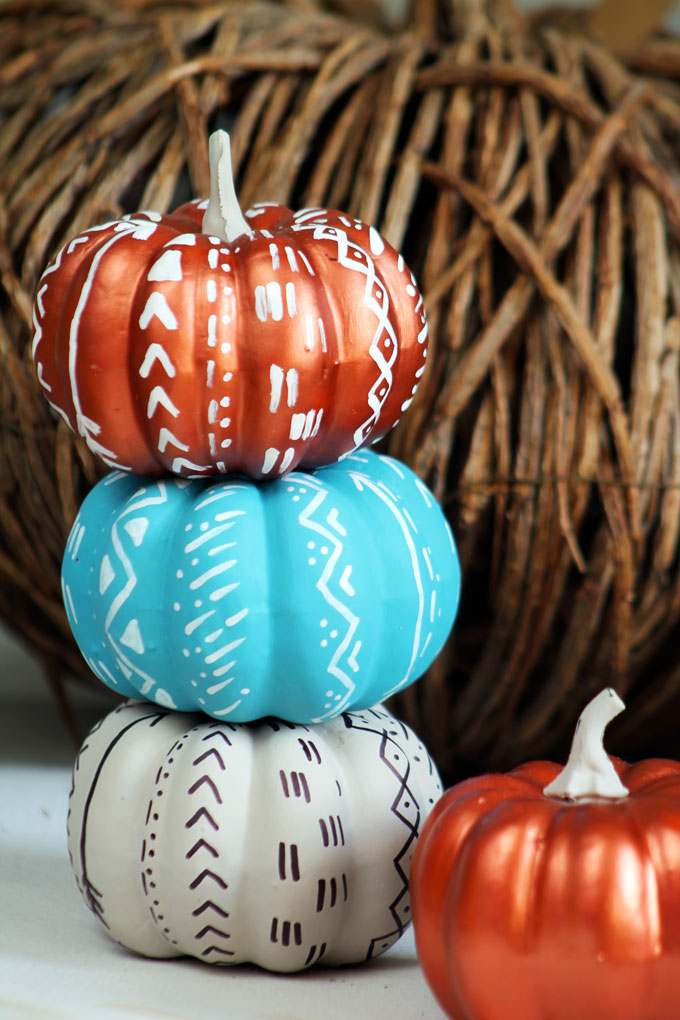 DIY bold tribal and boho pumpkins in bold colors (via toriorioria.com)