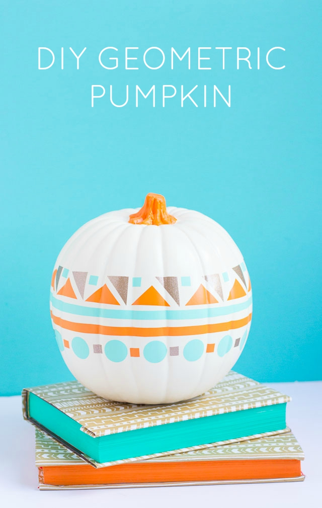 DIY colorful geometric pumpkin for fall (via www.designimprovised.com)