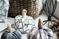 DIY monochromatic patterned fabric pumpkins