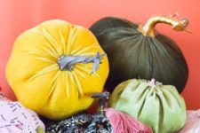 DIY supercolorful fabric pumpkins