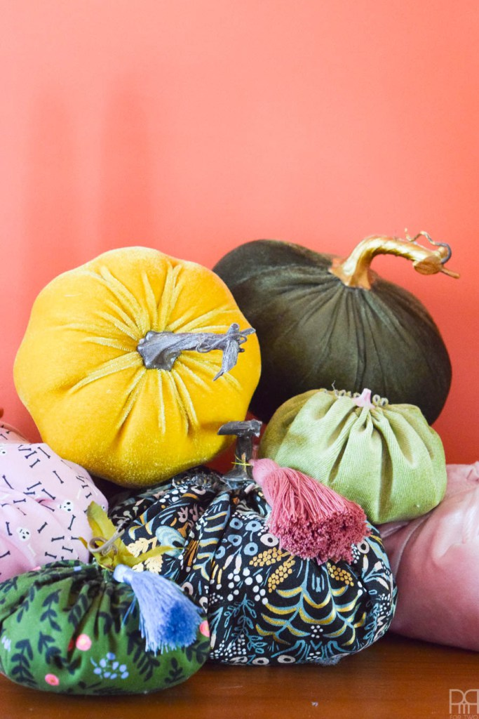 DIY supercolorful fabric pumpkins (via www.pmqfortwo.com)