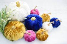 refined DIY velvet pumpkins in jewel tones