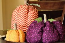 DIY colorful fabric pumpkins with wood stems