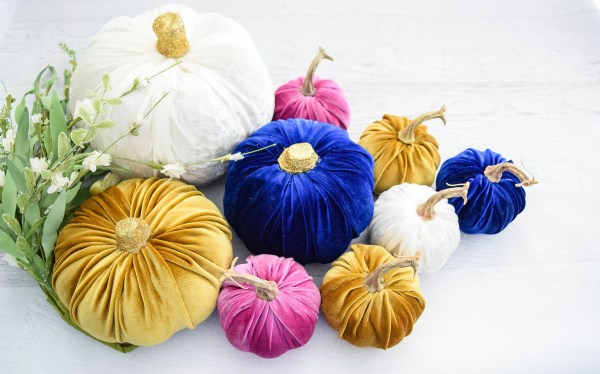 refined DIY velvet pumpkins in jewel tones (via www.abbikirstencollections.com)