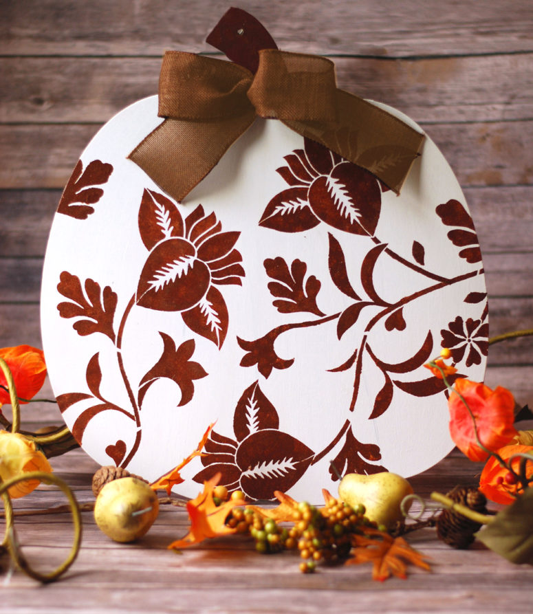 DIY painted white and burgundy wooden pumpkin (via easypapercrafts.com)