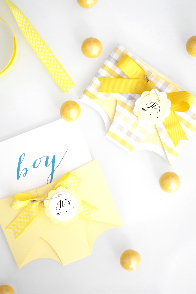 DIY paper diaper ballots gender reveal (via www.kristimurphy.com)