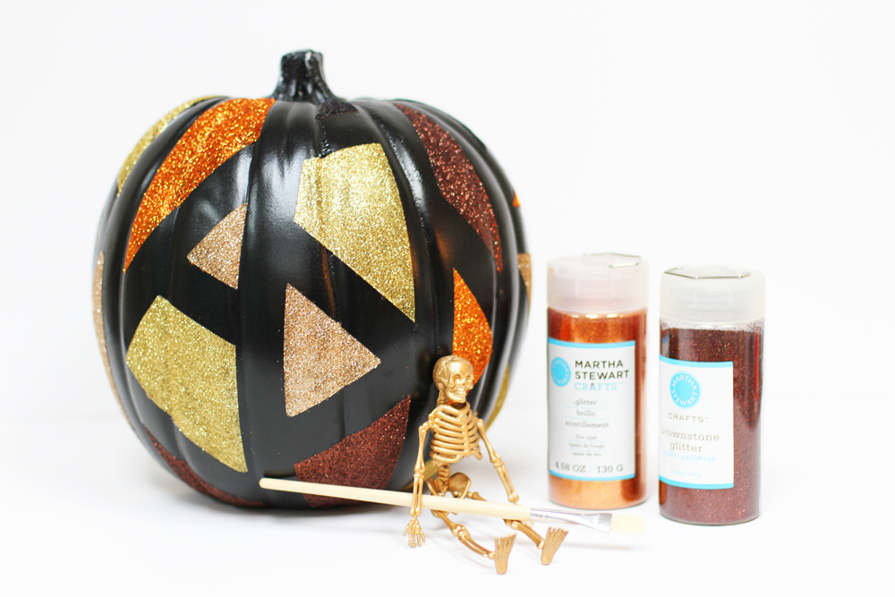 DIY black pumpkins with glitter geometric patterns